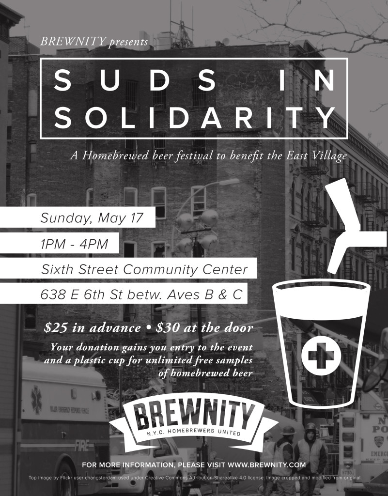 Suds in Solidarity, a Homebrew Benefit For The East Village Poster